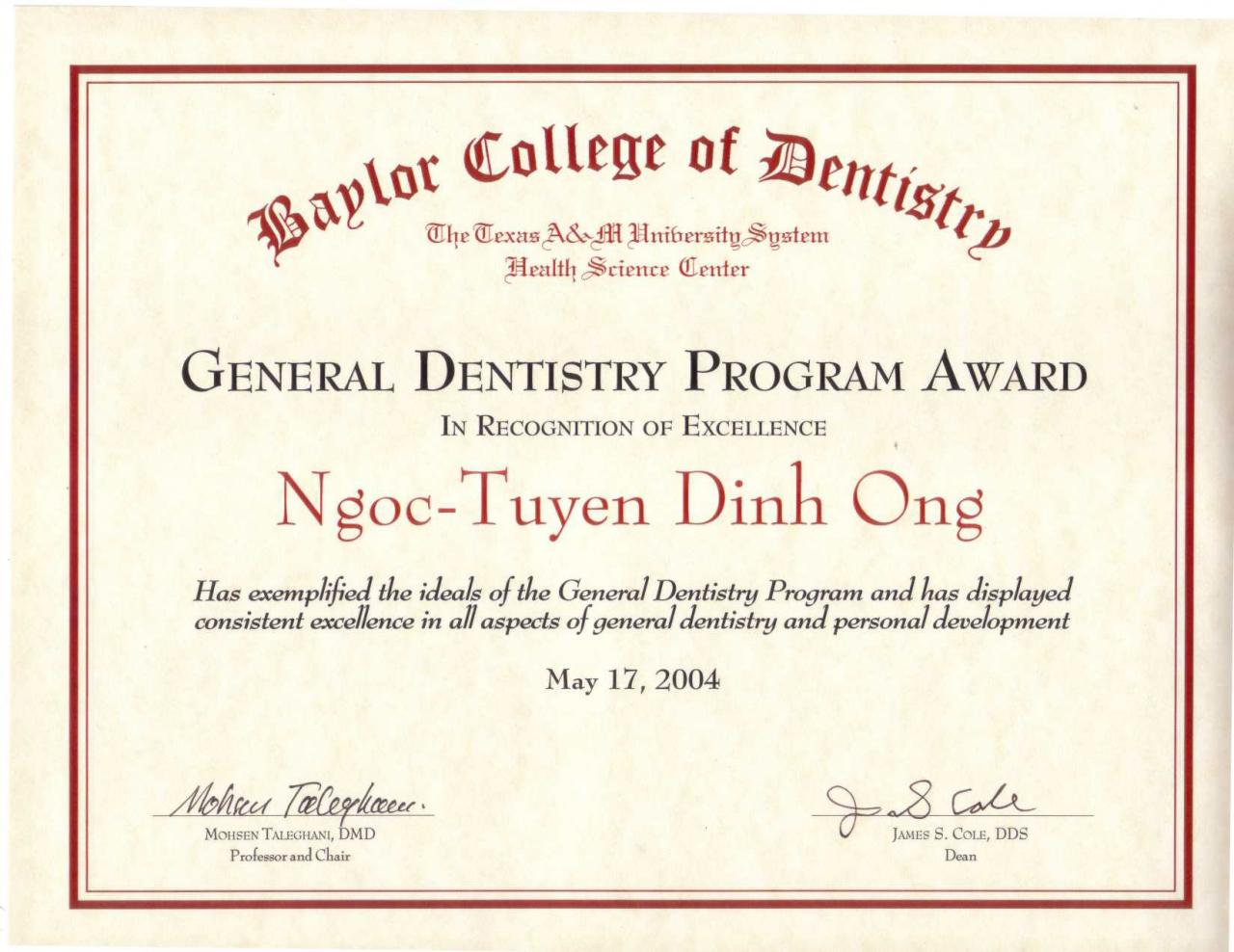 Diploma certificate awards general and cosmetic dentist dentist xflitez Choice Image